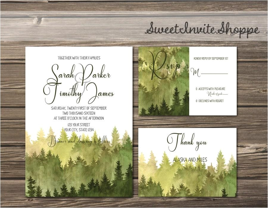 watercolor trees wedding invitation rustic mountain invitation pine trees wedding invitation woodsy invitation forest invitation diy