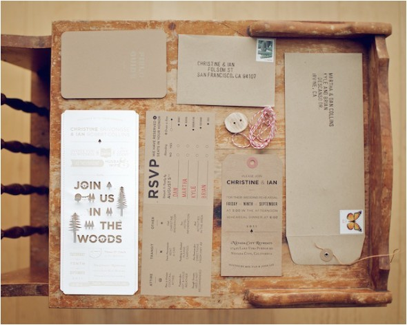 woodsy rustic style wedding invitation
