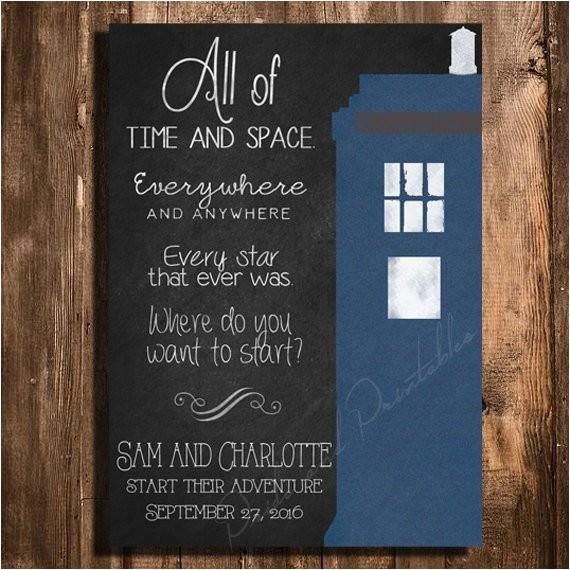 doctor who tardis wedding invitation set