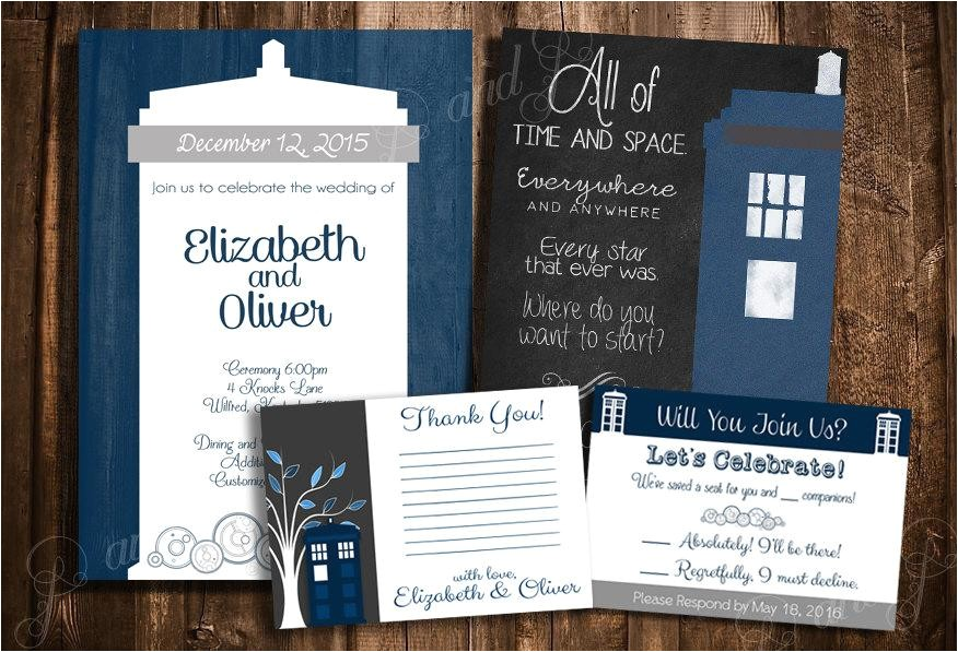 doctor who tardis wedding invitation set personalized printable wedding stationary kit create your own package