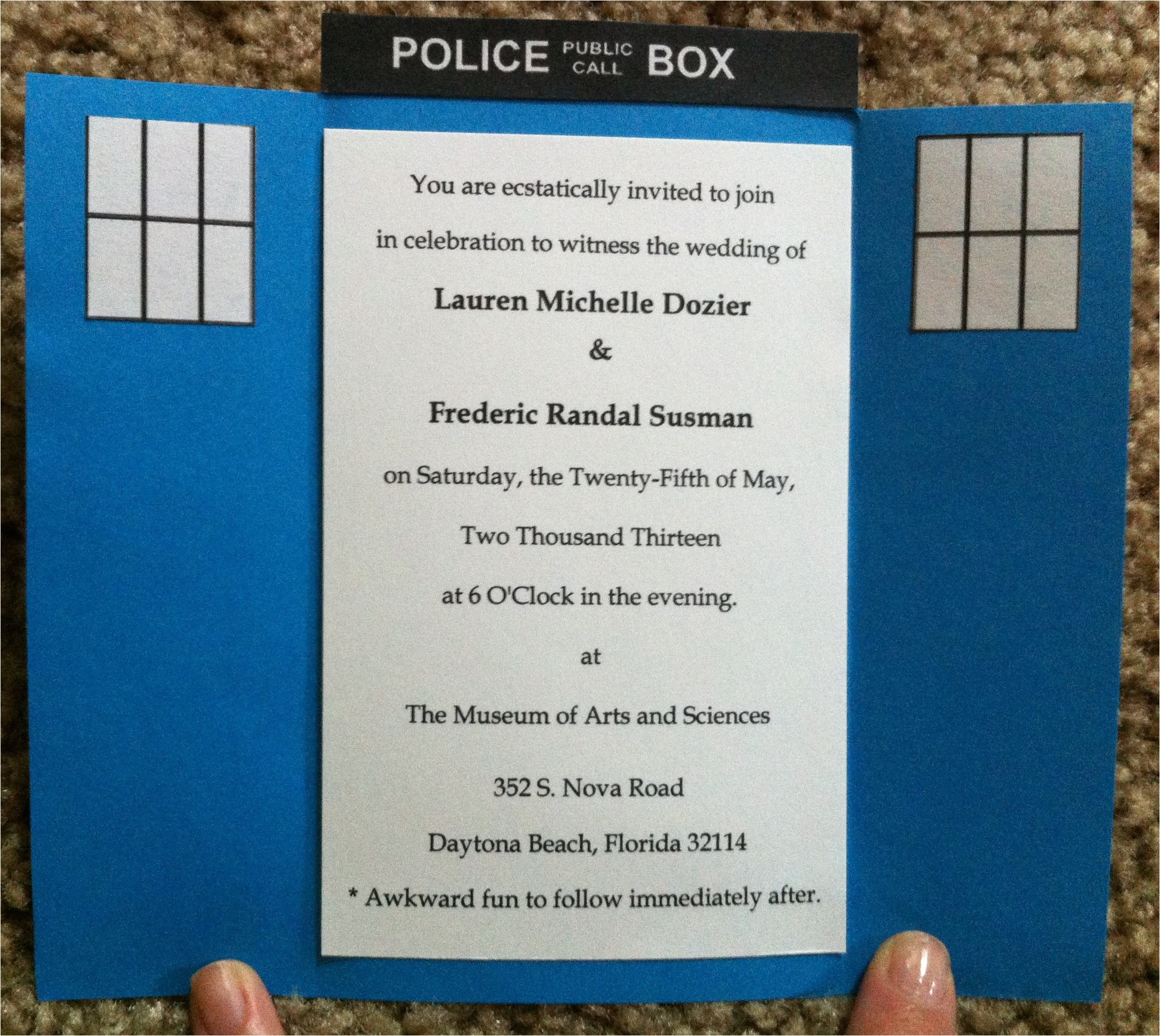 how we made our tardis invitations