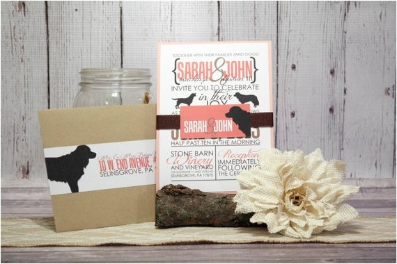coral wedding invitation set for dog
