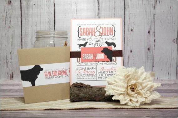 coral wedding invitation set for dog