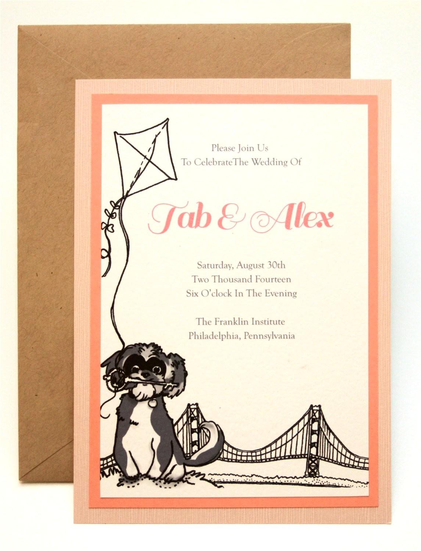 dog cat custom wedding invitation set pet illustration pet wedding invite dog wedding invitation stationery party etsy weddings