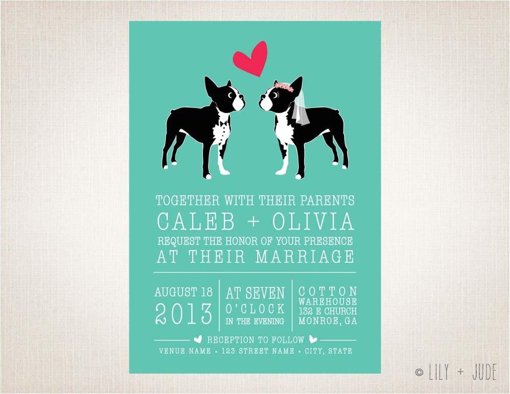 Dog Wedding Invitations Dog Wedding Invitation Boston Love Diy Digital by Lilyandjude
