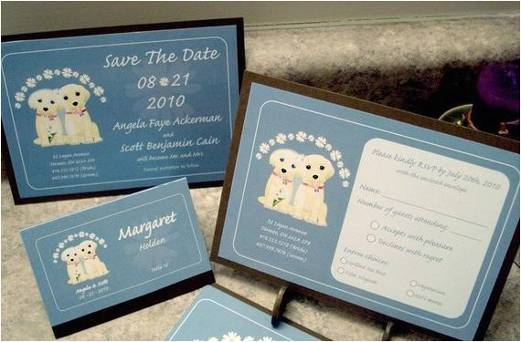 custom puppy dog wedding invitation set
