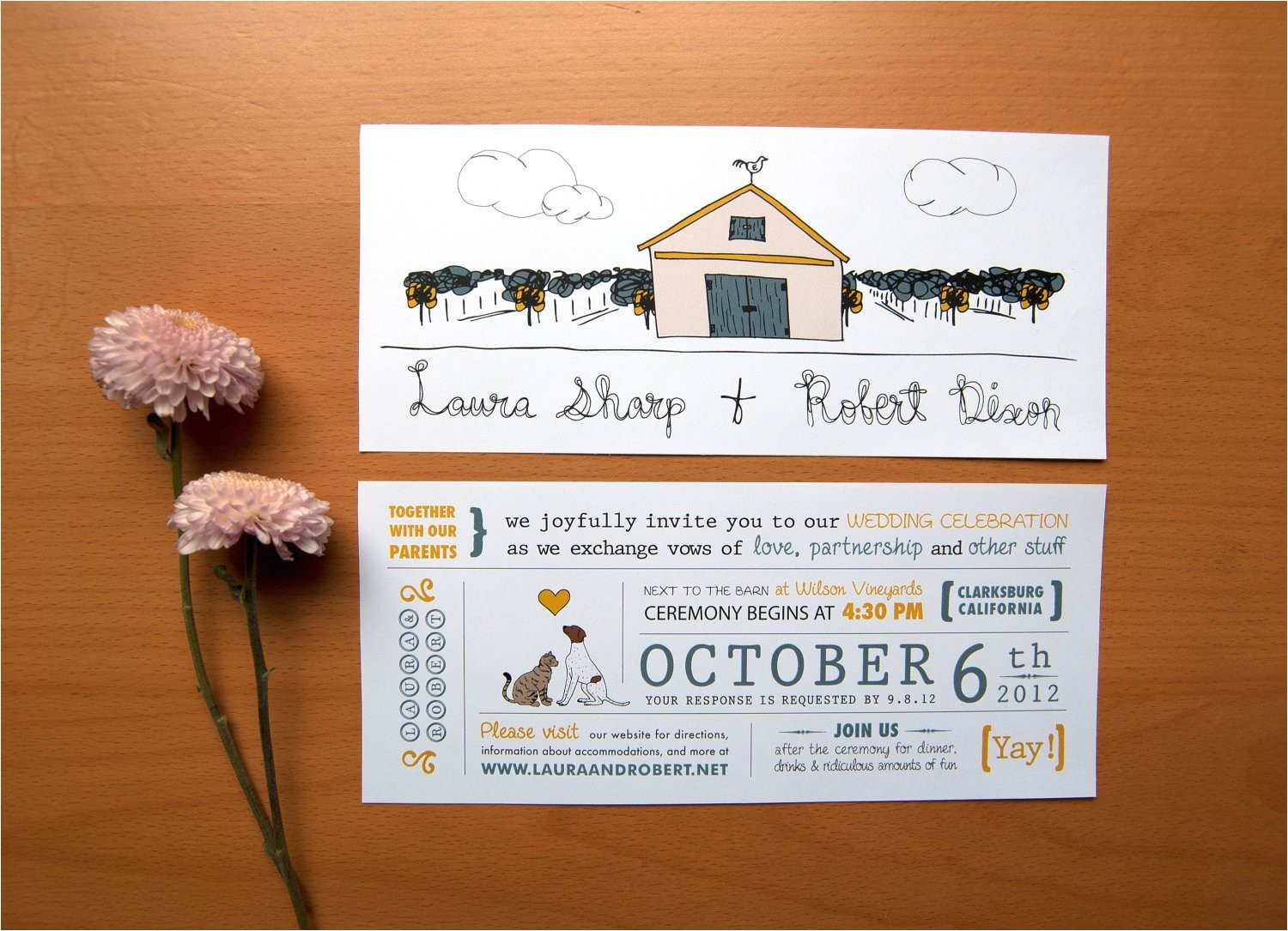rustic wedding invitation cat loves dog