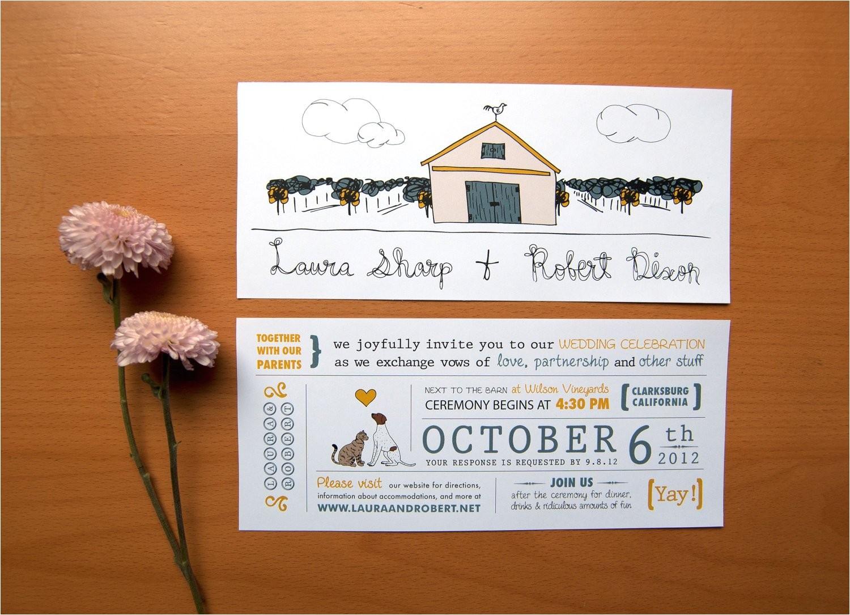 rustic wedding invitation cat loves dog