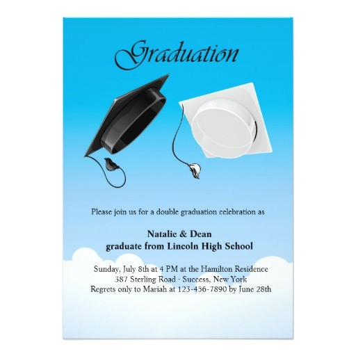 double graduation hat toss invitation 161708286876652227