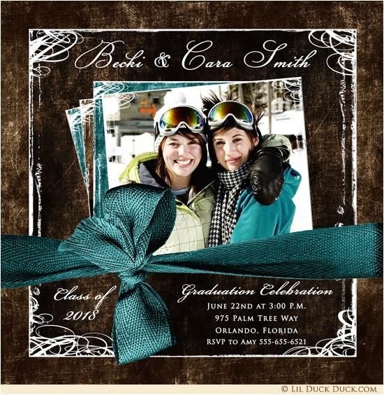 double graduation photo invitation