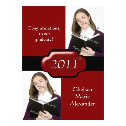 red double photo graduation party invitation 161849742069262718