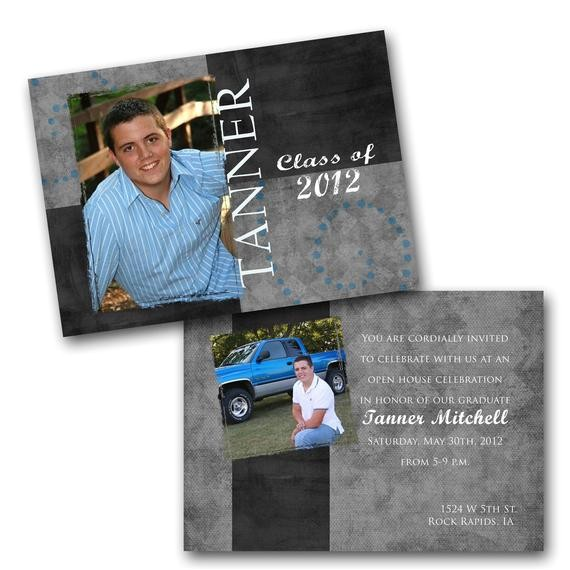 masculine graduation photo invitations