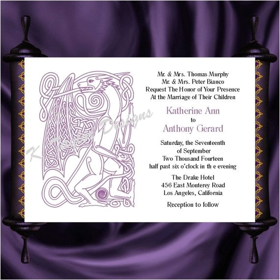 dragon invitation rsvp celtic dragon