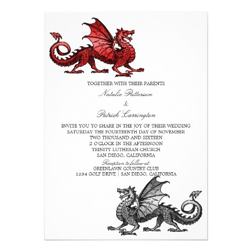 red silver dragon wedding invite 256063868529883472