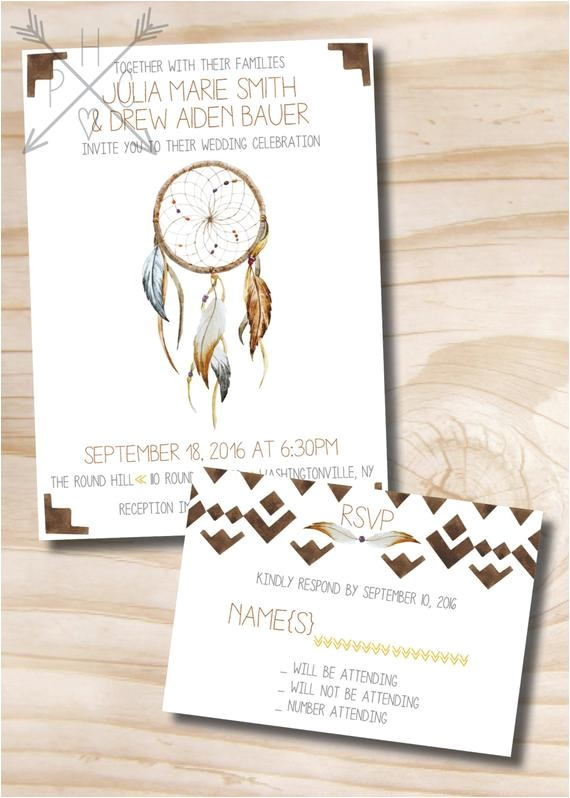 dream catcher wedding invitation response card 2