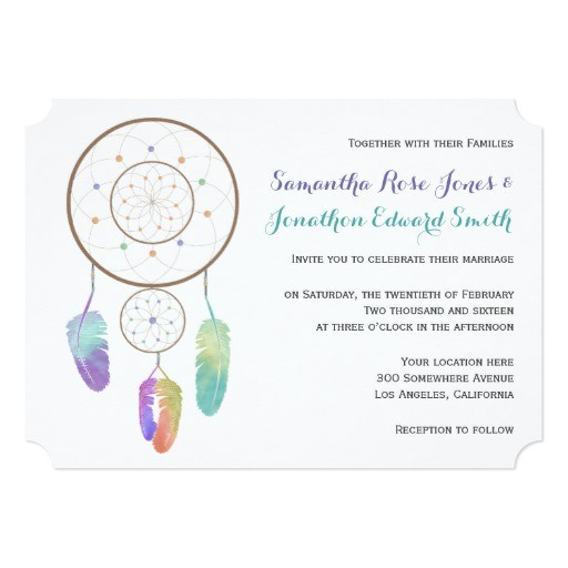 boho dreamcatcher wedding invitation 256309291366452955