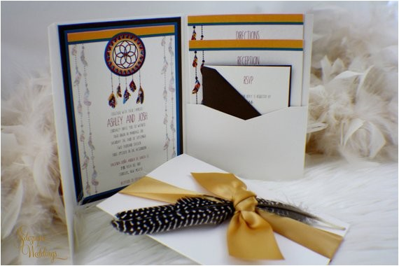 dreamcatcher wedding invitation suite tribal aztec