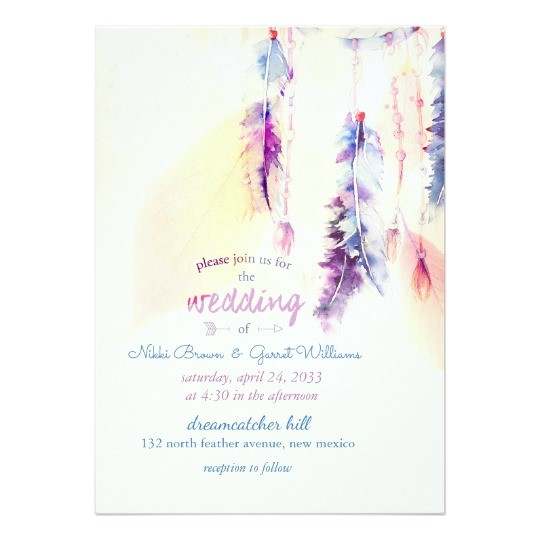 watercolor dreamcatcher boho wedding invitation 256213980427405576