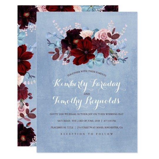 burgundy and dusty blue floral elegant wedding card 256795428490373263