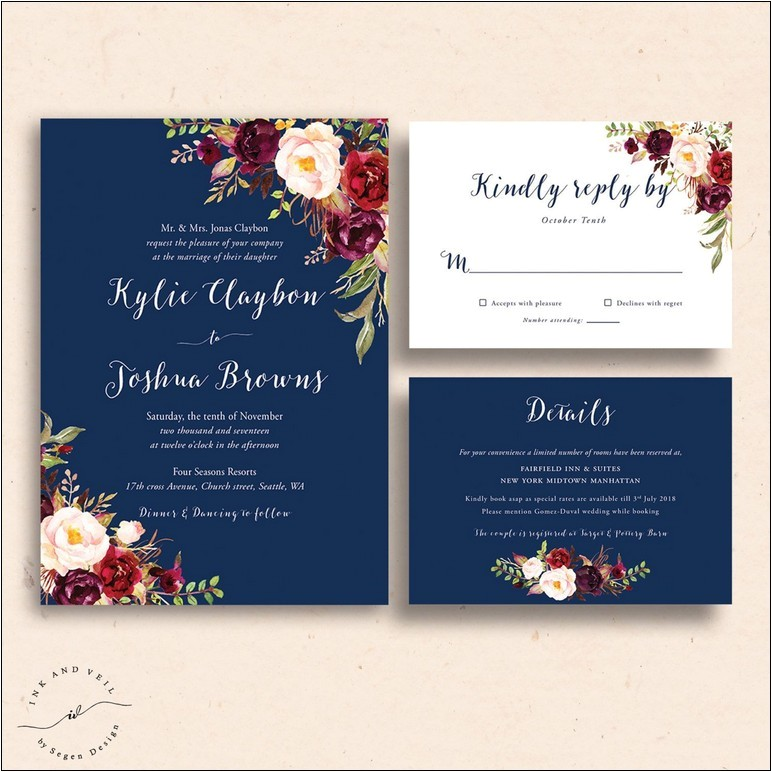 burgundy and dusty blue wedding invitations