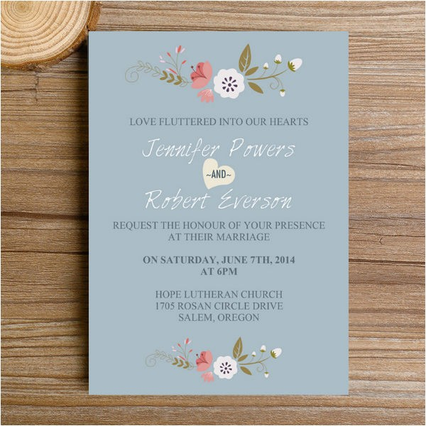 dusty blue floral bohemian wedding invitation kits ewi380