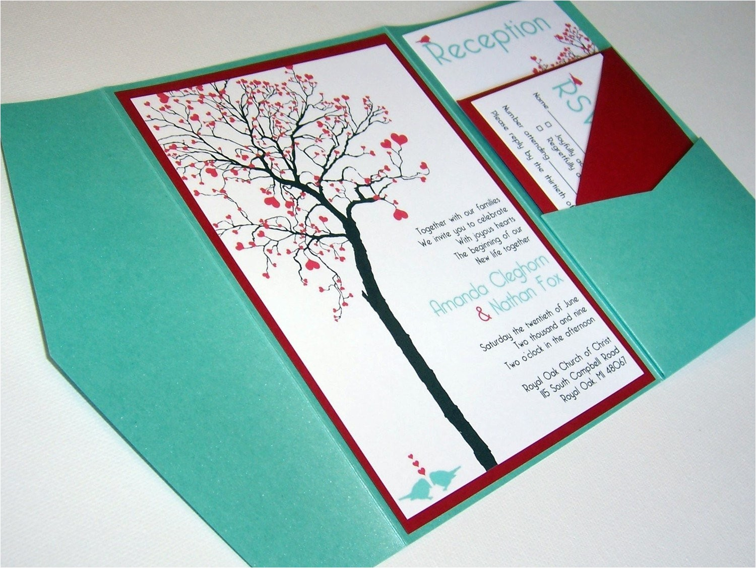wedding invitation diy pocketfold heart
