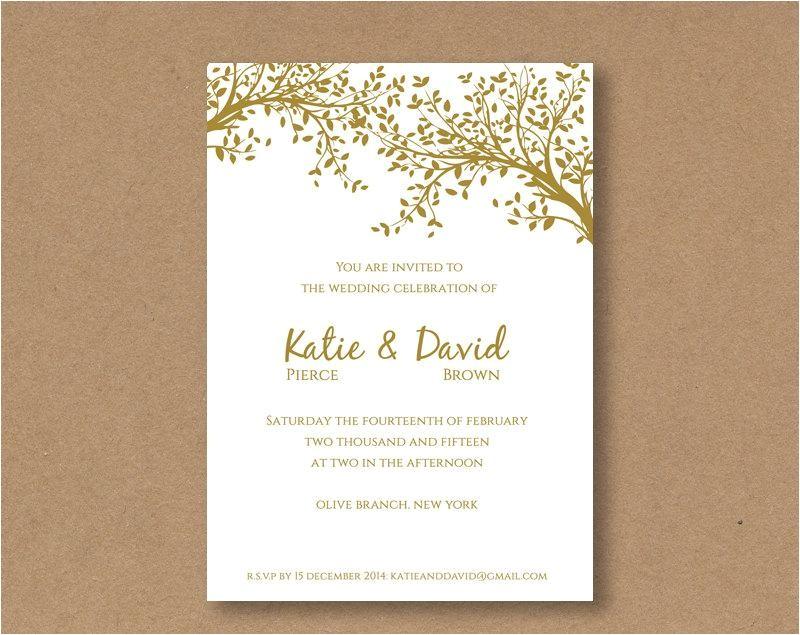 diy editable and printable wedding invitation template gold leaves editable wedding template invitation editable template word diy