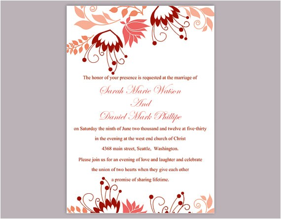 diy wedding invitation template editable word file instant download peach wedding invitation coral floral invitations printable invitation
