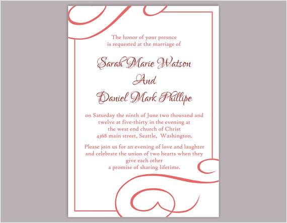 diy wedding invitation template editable word file instant download printable invitation wine red wedding invitation elegant red invitations