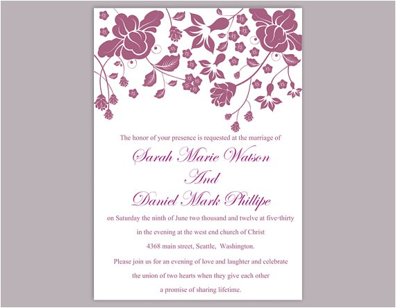 diy wedding invitation template editable word file instant download printable invitation eggplant wedding invitations flower invitation