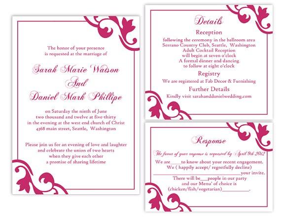 diy wedding invitation template set editable word file instant download printable invitation fuchsia wedding invitation hot pink invitation