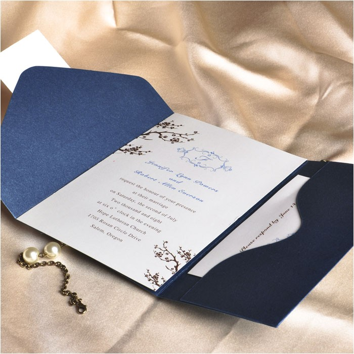 elegant floral art decor monogram blue pocket discount wedding invitation sets ewpi013