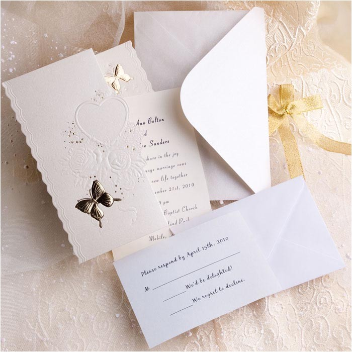 elegant ivory butterfly art deco tri fold affordable wedding invitation kits online ewri010