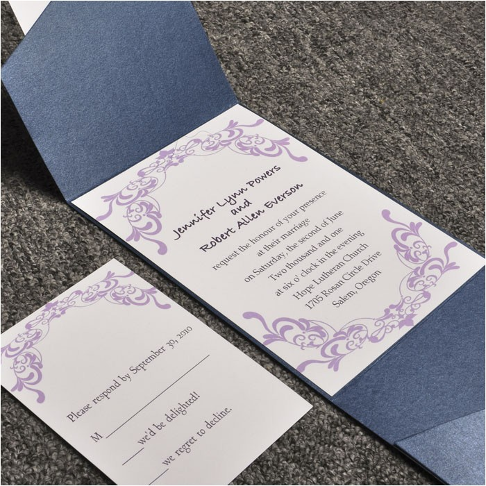 elegant purple damask card and blue pocket affordable wedding invitation sets ewpi015