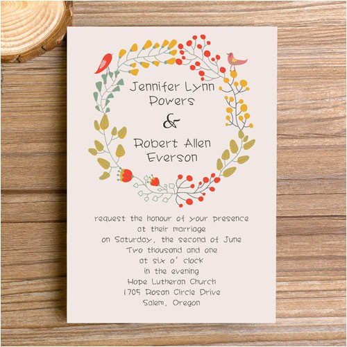 affordable bohemian floral elegant wedding invitations ewi300