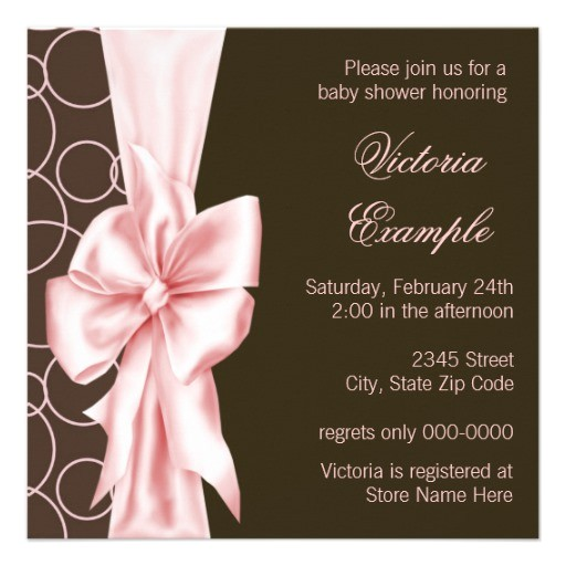 pink brown bow elegant baby girl shower invitation 161450165935917669