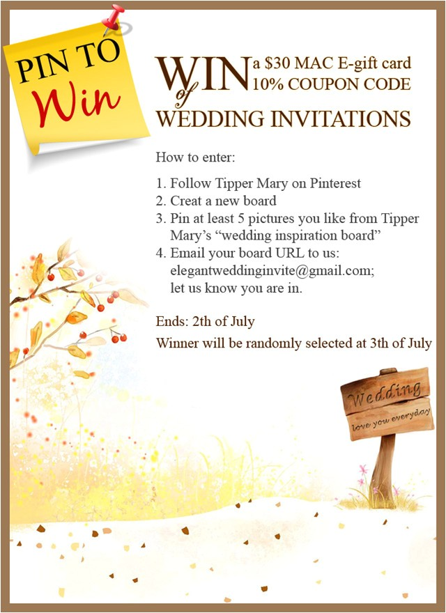pin to win mac e gift card and coupon code on elegantweddinginvites com