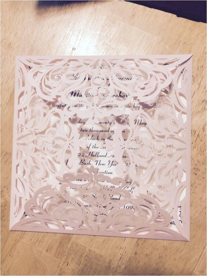 affordable blush pink floral laser cut wedding invitation ewws047