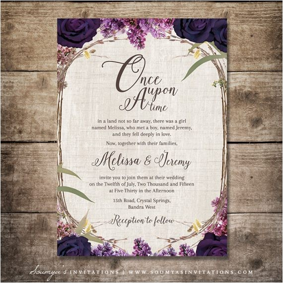 enchanted forest invitation purple wedding invitation fairy tale wedding invitation woodland garden wedding invitation floral wreath invite floral bohemian wedding