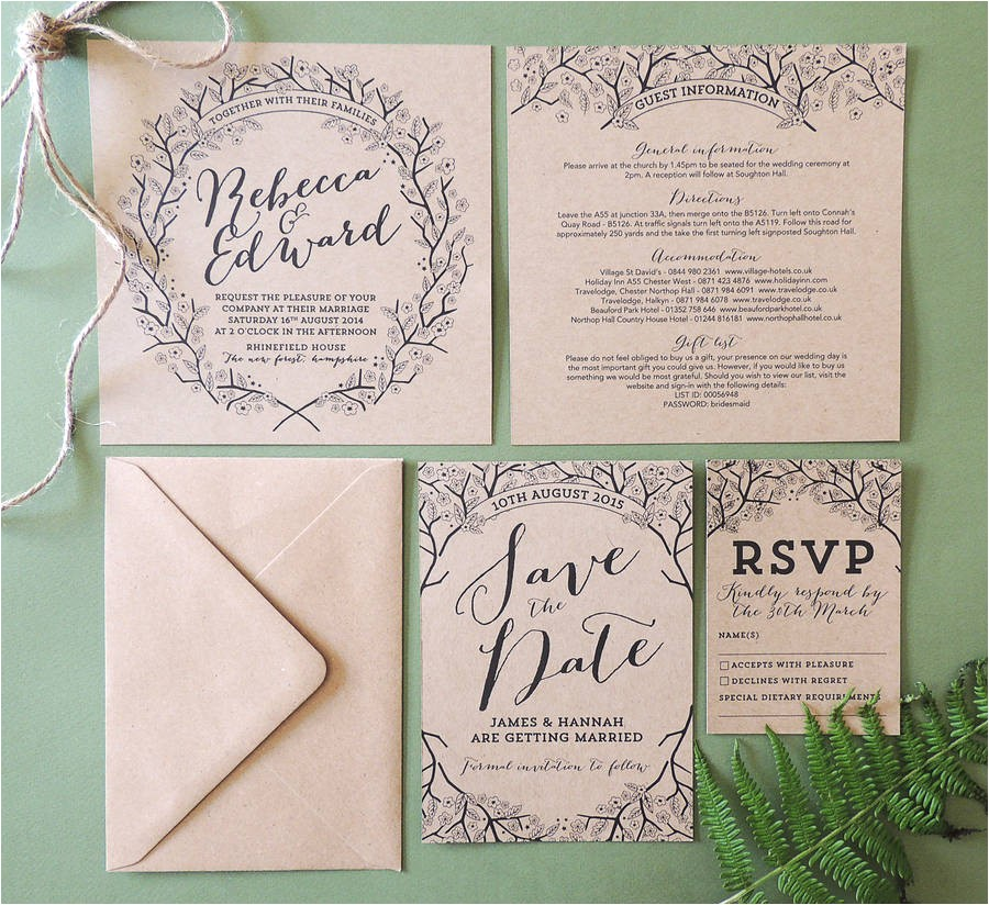 Enchanted forest themed Wedding Invitations Enchanted forest Kraft Wedding Invitation by Project