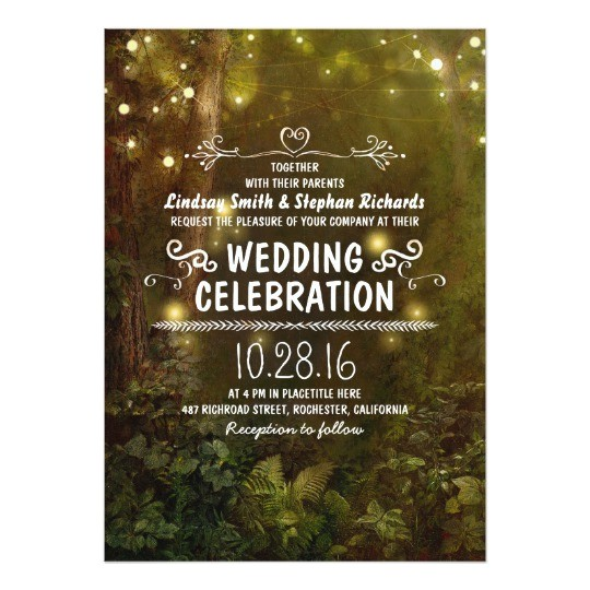 enchanted forest string lights wedding invitations 161217000236181723
