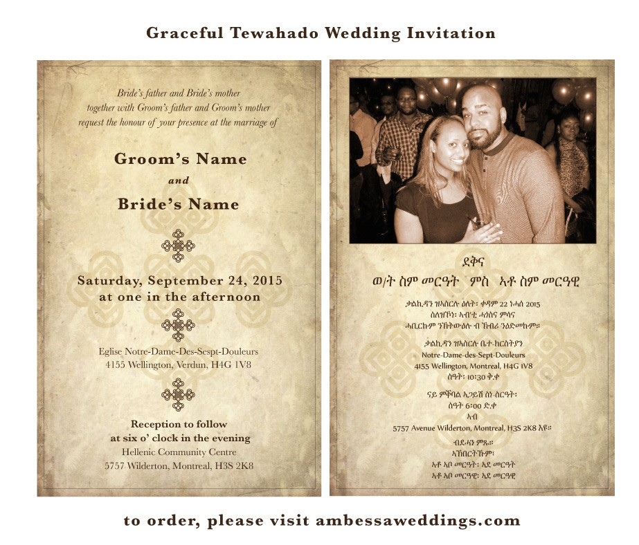 graceful ideas ethiopian wedding invitation cards perfect chrome simple vintage photo langguage reception