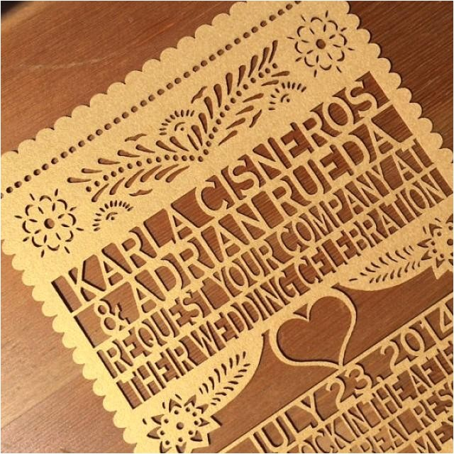 laser cut invitation papel picado inspired wedding 5x7 card rehearsal engagement bridal shower couples
