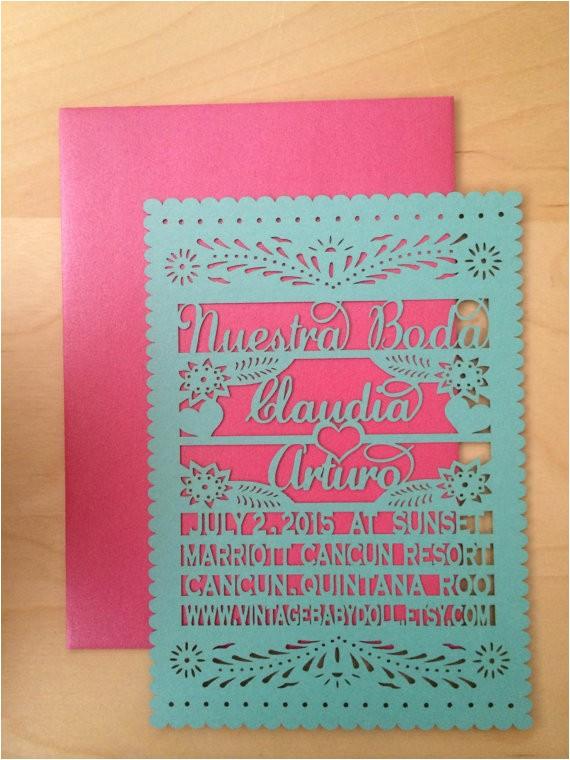 nuestra boda papel picado inspired wedding invitation