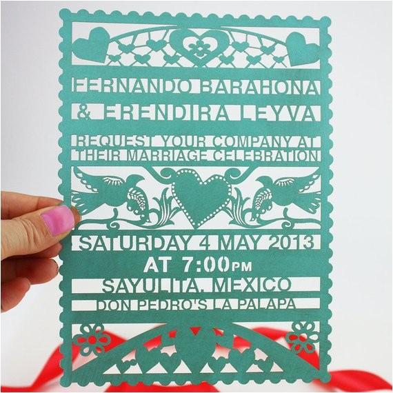papel picado lasercut wedding invitation