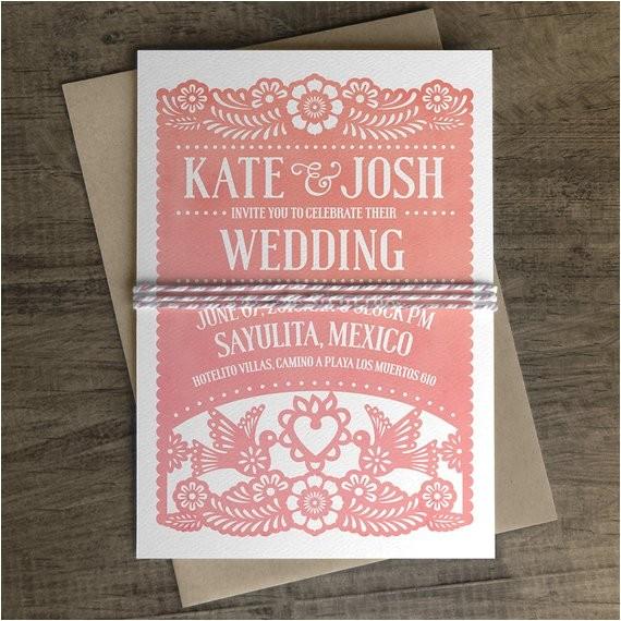 papel picado wedding invitation papel