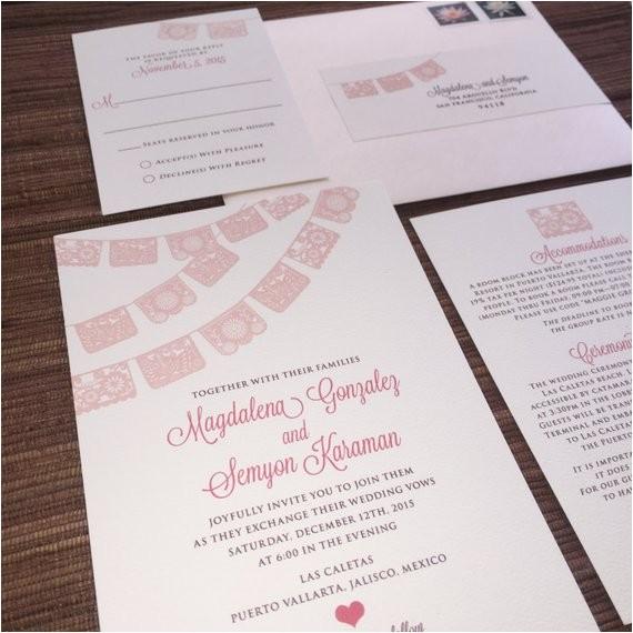 papel picado wedding invitation rsvp