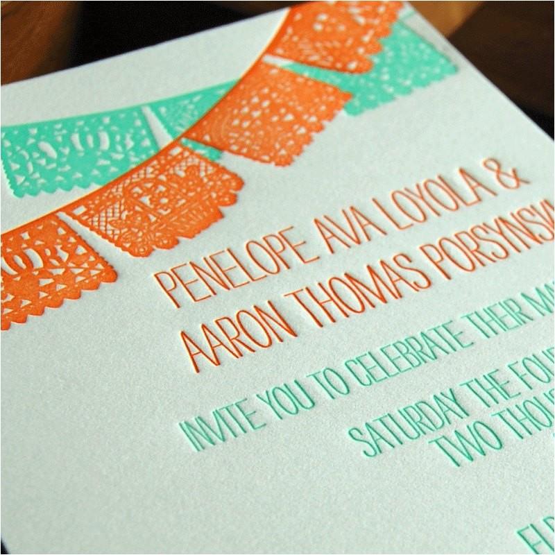 papel picado wedding invitation sample