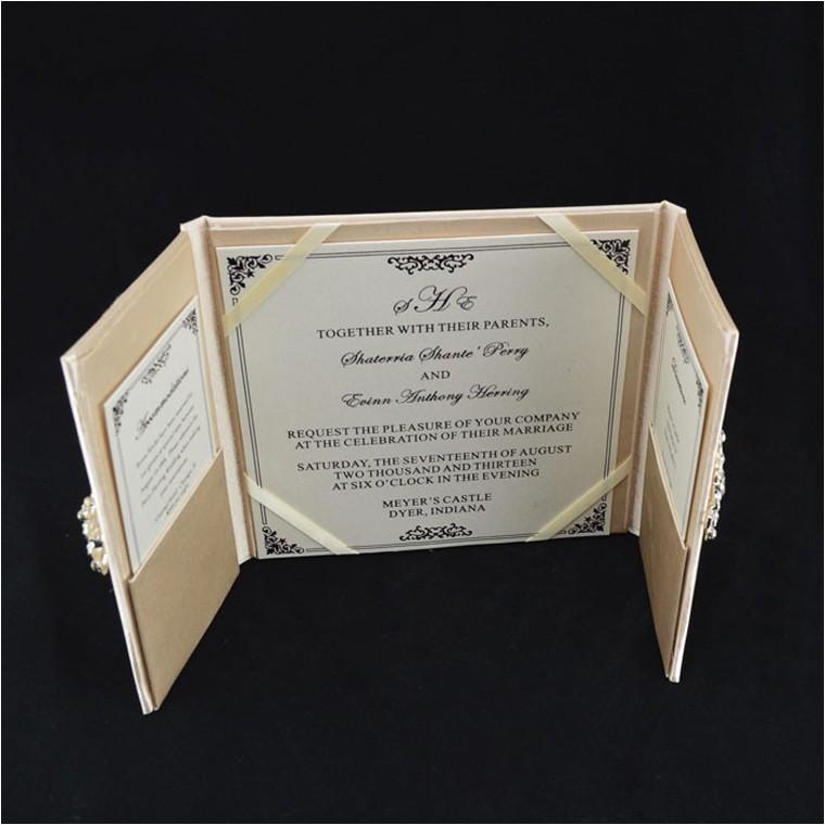 ivory silk folio wedding invitation with paper box and rhinestone buckle p 3381