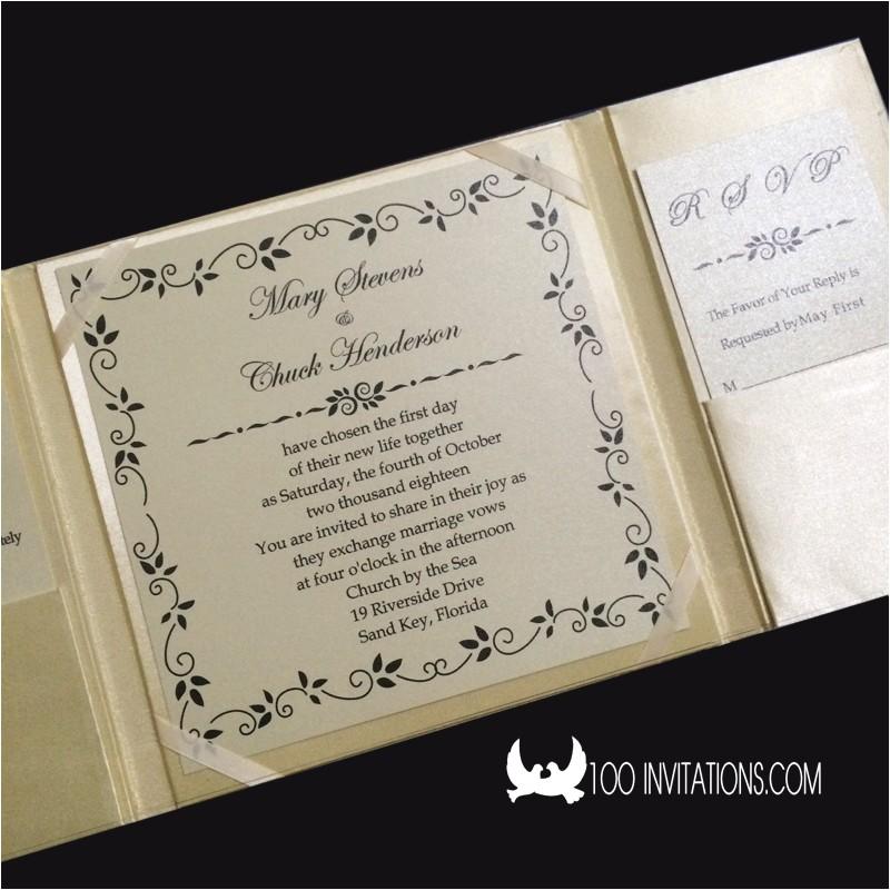 luxury ivory silk folio box wedding invitations p 3556